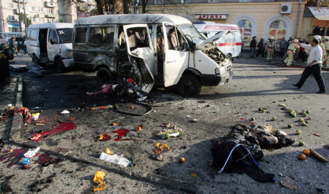 Image: Destroyed minibus in North Ossetia