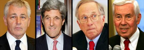 Image: Sen. Chuck Hagel, Sen. John Kerry, Former Sen. Sam Nunn, Sen. Dick Lugar.