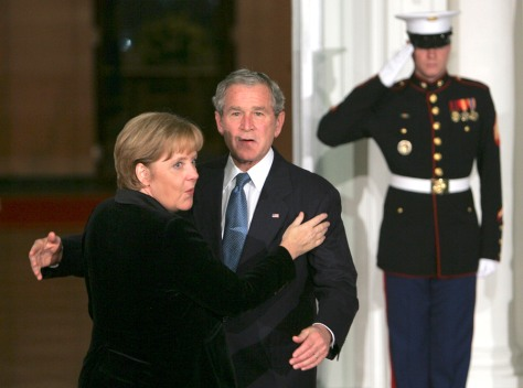 Image: Bush and Merkel