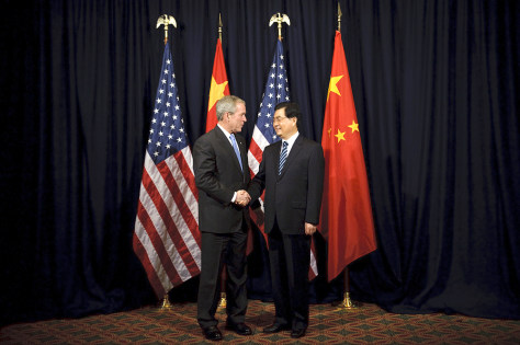 Image: George Bush and Hu Jintao