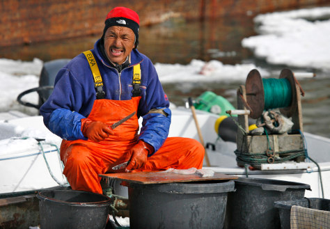 Image: A fisherman cuts bait in the town of Ilulissat in western Greenland