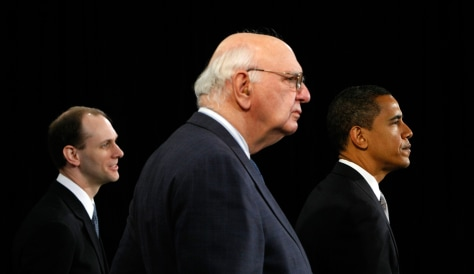 Image: Austan Goolsbee, Paul Volcker and President-elect Barack Obama