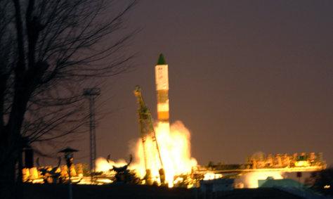 Image: A Russian Soyuz rocket lifts off from the Baikonur Cosmodrome in Kazakhstan