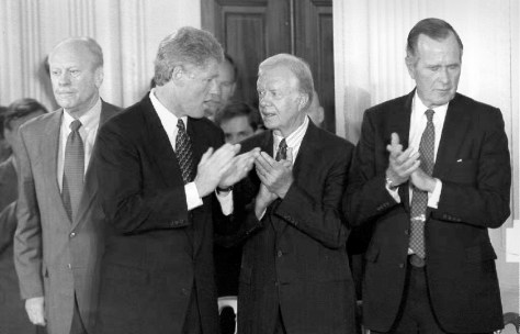 Image: Presidents Gerald Ford, Bill Clinton, Jimmy Carter and George H.W. Bush