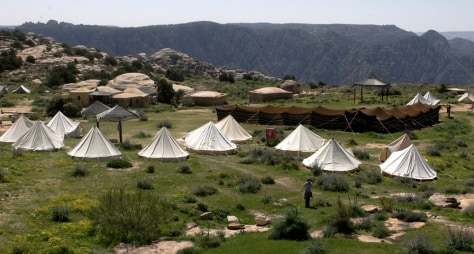 Image: Visitors tents at the Dana reserve in southern Jordan