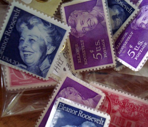 Image: Postage stamps bearing the likeness of Eleanor Roosevelt