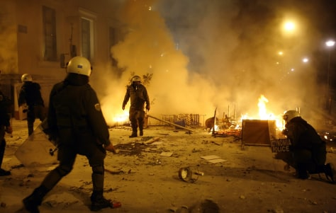 Image: Riot police and fires in Athens