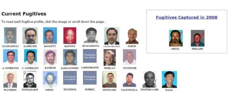 Image: Mug shots of fugitives