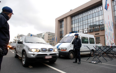 Image: Security outside European Council HQ in Brussels