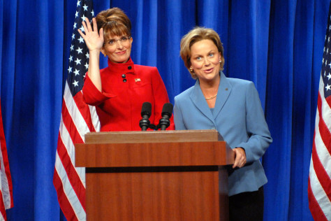 Image: Tina Fey and Amy Poehler impersonate Sarah Palin and Hillary Clinton