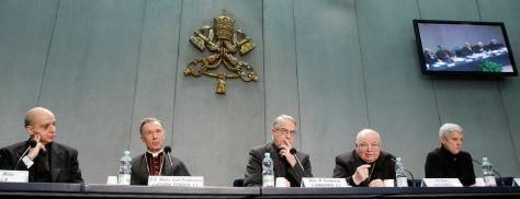 Image: Rino Fisichella, Luis Francisco Ladaria Ferrer, Federico Lombardi, Monsignor Elio Sgreccia, Maria Luisa Di Pietro