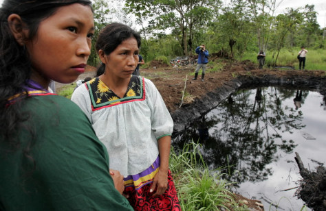 Image: Pool of oil in Amazon