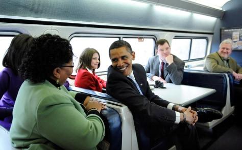 Image: Obama hops aboard
