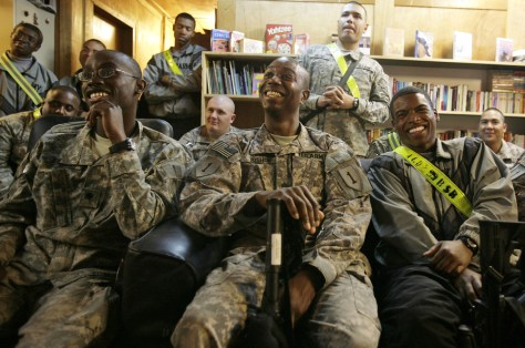Image: Troops in Iraq watching inauguration