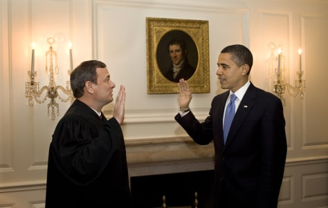 Image: President Barack Obamaretaking the oath of office from Chief Justice John Roberts