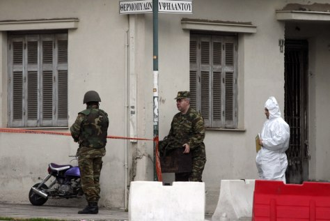 Image: Greek police, army at site of attack