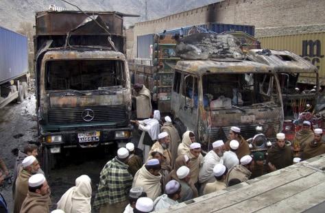 Image: burned trucks