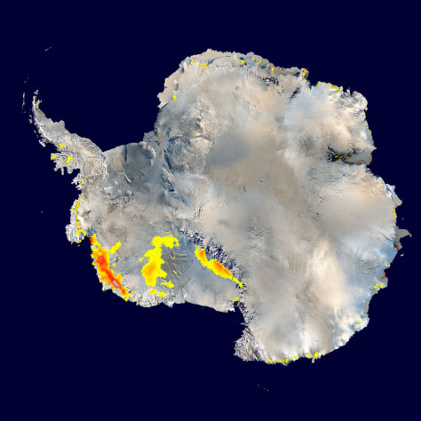 Image: Map of warming areas on West Antarctica