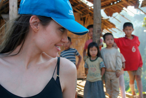 Image: Angelina Jolie seen with refugee children