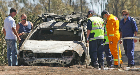 Image: Remains of a burnt out vehicle in Australia