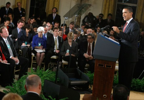 Image: Obama Holds First White House Press Conference