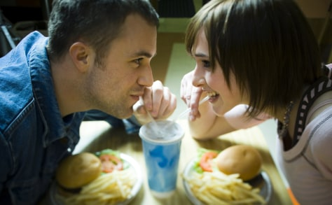 Image: Couple connecting over fast food