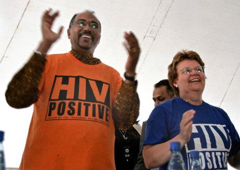 Image: UNAIDS chief Michel Sidibe, South Africa's health minister Barbara Hogan