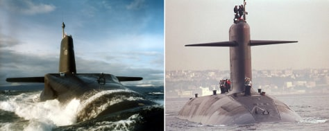 Image: Britain's HMC Vanguard and France's Le Triomphant