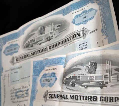 Image: GM stock certificates