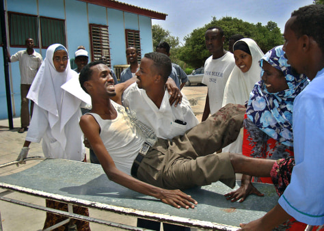Image: Somalian man wounded in a mortar attack