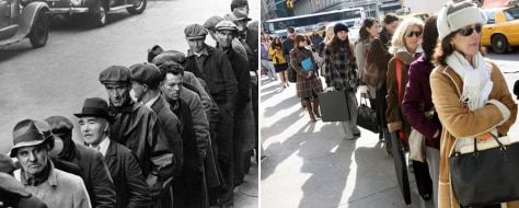 Image: Combo picture made with April 3, 1935 and Feb. 20, 2009 pictures of job seekers.