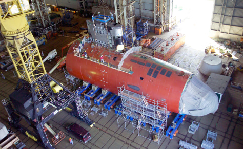 Image: Electric Boat of one of the submarines under construction in Groton, Conn.
