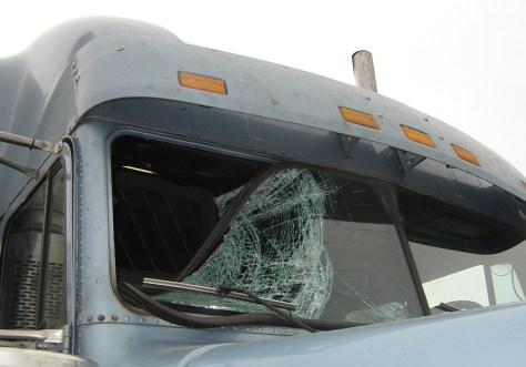 Image: Smashed windshield after eagle strike