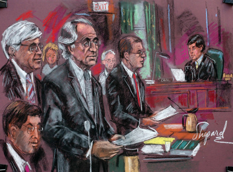 Image: Courtroom drawing shows convicted swindler Bernie Madoff