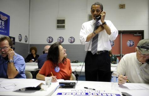 Image: US Democratic presidential candidate Illinois Senator Barack Obama on the phone.