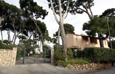 The entrance to a group of villas, which includes a summer residence owned by financier Madoff in Cap d'Antibes