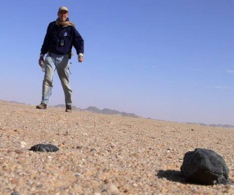 NASA meteor astronomer Peter Jenniskens, other researchersand dozens of students painstakingly searched by dozens of students through the remote Sudan desert and came up with 8.7 pounds (4 kilograms) of black jagged rocks, leftovers from the asteroid 2008 TC3.