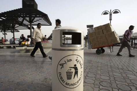 Image: Trash bin in Bubai with spit stains