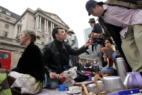 Image: Protesters in London have tea