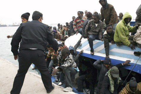 Image: African migrants landing in Libya