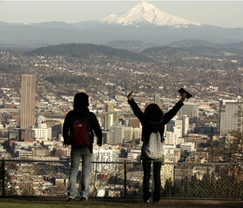 Image: Mount Hood looms over downtown Portland