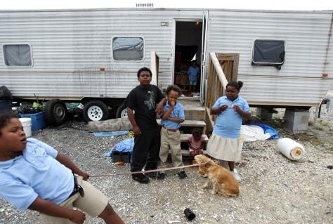 Image: Children at FEMA Diamond travel trailer park