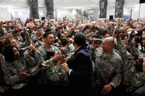 Image: President Obama with troops in Iraq