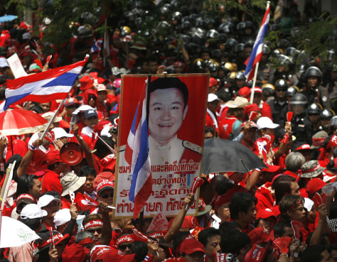 Image: Supporters of former Thai Prime Minister Thaksin protest