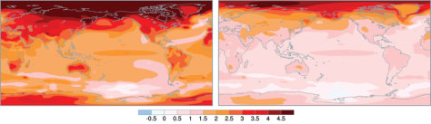 Image: World maps at different temperature projections