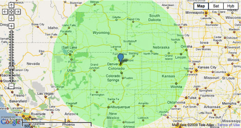 Mile Radius Map on