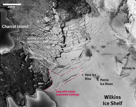 Image: Wilkins Ice Shelf calving