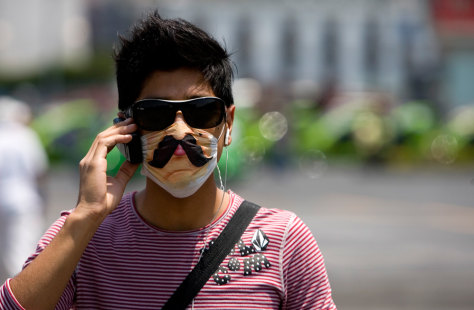 Image: Man wears customized, protective mask