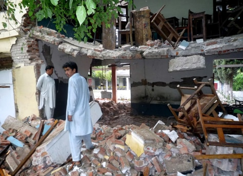 Image: Government school wrecked by militant
