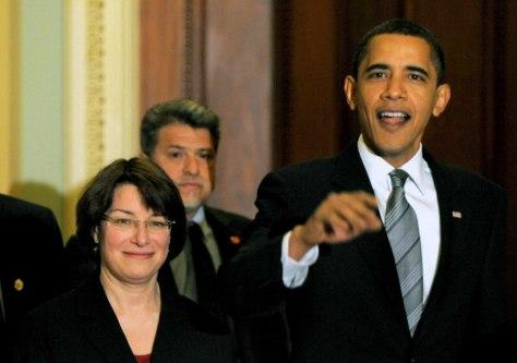 Image: Sen. Amy Klobuchar, President Barack Obama